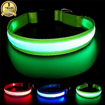 Masbrill light up dog collars, led glowing dog collar with rechargeable and waterproof, super bright wof34665