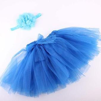Baby Tutu With Flower Headband | 6-12m | Blue Baby Tutu | 2pcs Set