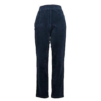 Quacker Factory Regular Knit Corduroy Pull-On Slim Leg Pant Blue A270756
