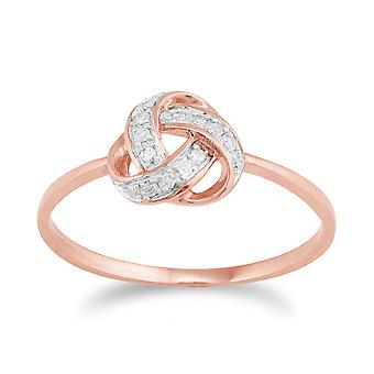 Anillo de amor nudo 9ct oro rosa diamantes
