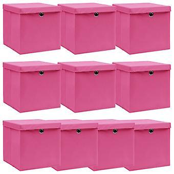 vidaXL Aufbewahrungsboxen mit Deckel 10 Stk. Rosa 32×32×32cm Stoff