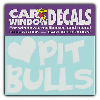 "Decal, Window Decal, I Love Pit Bulls, 4.5"" Wide"