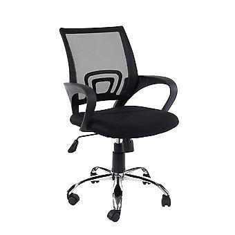Lust study chair in black mesh black fabric & chrome base