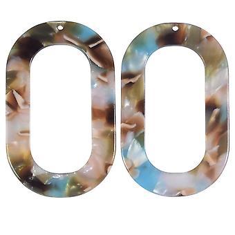 Zola Elements Acétate Pendentif, Sirène Oval Donut 27x44mm, 2 Pièces, Multicolore