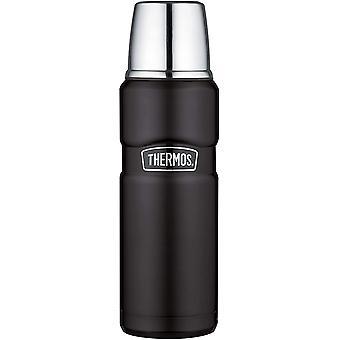 FengChun 4003.232.047 flasche Stainless King, Edelstahl Mat Black 0,47 l, Drehverschluss, 12 Stunden