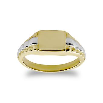 Jewelco London Kids Solid 9ct Yellow and White Gold Watch Link Signet Baby Ring