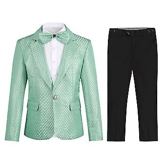 Homemiyn Boy's Single-breasted Back Split Suit Two-piece Casual Slim Green Plaid Suit (coat & Bow Tie & Pants)