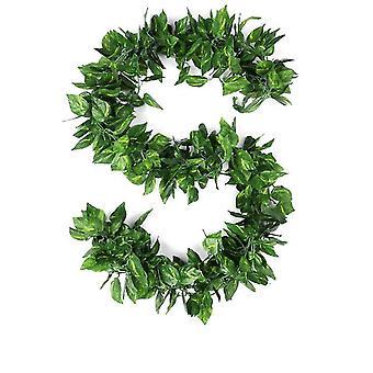 90Pcs 2.3m money plant leaf fake garland greenery decor faux green hanging plant vine x1447
