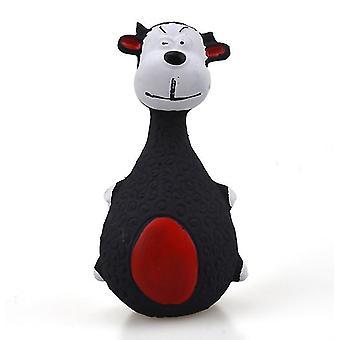 2Pcs black dog cartoon latex bite-resistant molar sounding toy az5442