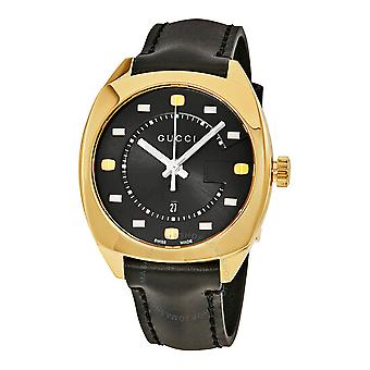 Gucci Ya142408 Black Dial Leather Strap Watch For Men