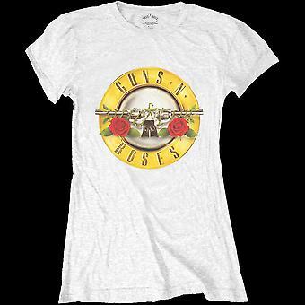 Guns N' Roses - klassische Kugel Logo Damen Medium T-Shirt - weiß