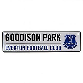 Letrero de la ventana del Estadio Everton FC