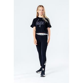 Hype Girls Glitter Script Frill Detalhe t-shirt