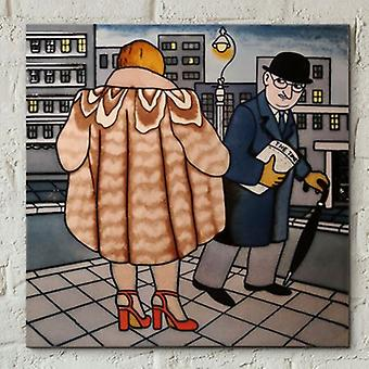 Tile 8x8 My Fur Coat av Beryl Cook Wall Art