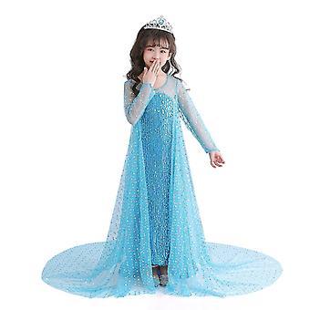 Girls Princess Dress Costume Short Sleeve Dress Girl Child Princess Dress Skirt(130CM)