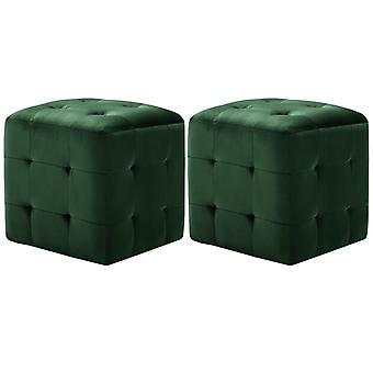vidaXL yöpöydät 2 kpl. vihreä 30x30x30 cm samettikangas