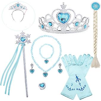 6pcs Elsa Princess Costumes Set Princess Crown, Gloves, Magic Wand, Necklace, Ring, Earrings For Girls Blue