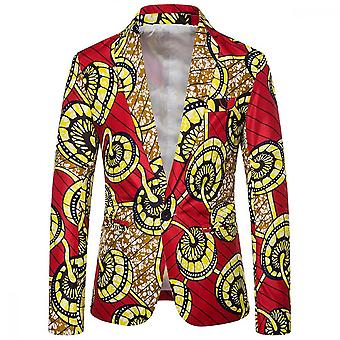 Yunyun Men's Casual A Buckle Printed Ethnic Style Suit Jacket