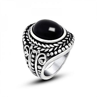 Creative Rings Retro Distressed Titanium Steel Ring Male Inlaid Gem Ring Personalized Ring Sa751