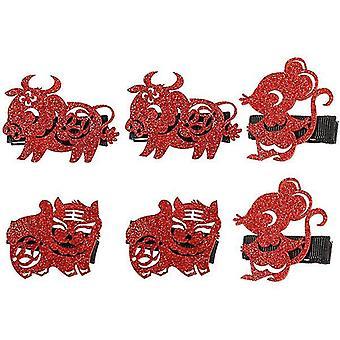 New Year Kids Zodiac Belles épingles à cheveux pour les enfants 6Pcs