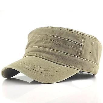 Casual Katoen Soldier Denim Sun Hat Visor Solid Flat (Khaki)