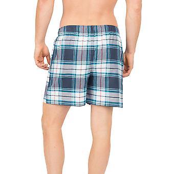 Cyberjammies Lewis 6632 Miesten blue check pyjama lyhyt