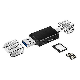 USB Typ C Nano Speicherkarte Dual-Use-Kartenleser (Schwarz)