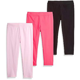 Essentials Little Girls' 3-Pack Capri Legging, Cherry Blossom/Raspberry Sorbet/Black Beauty, X-Small