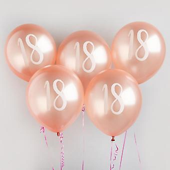 Rose Gold 18-årsdag ballonger x5   Festdekorasjoner for milepæl