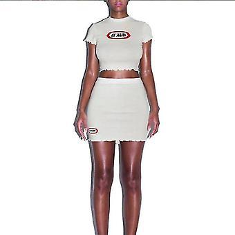Summer Solid Lotus Leaf Short Sleeveslim Fit Crop Top - Mini Dress