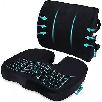 Orthopedic Seat Cushion And Back & Lumbar Support Cushions Pillow For Office Chair Memory Foam Car Seat Cushion