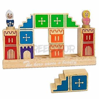 Деревянные блоки деревянные 3D дорожки строительство дошкольной головоломки настольная игра с 48 игривыми испытаниями для детей старше 4 лет