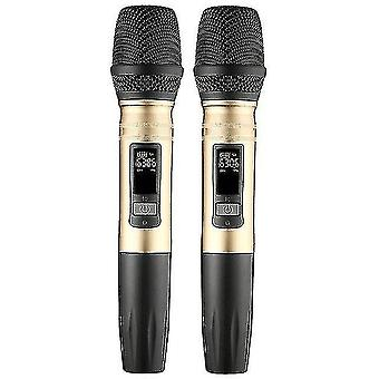 Microphones 2pcs/set ux2 uhf wireless microphone system handheld led mic uhf speaker with portable usb receiver