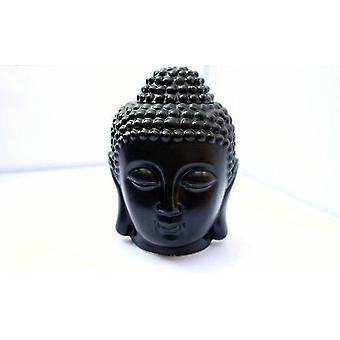 Keramische kalme boeddha hoofd aromatische olie wierook brander (Zwart)