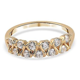 J Francis Half Eternity Ring Swarovski Zirkonia Vergoldet Silber 1.65ct(M)
