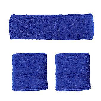 1 סט / 3pcs חדר כושר זיעה סופג הלהקה להגדיר כותנה ספורט הגנה צמידים ראש לנשים גברים (כחול)