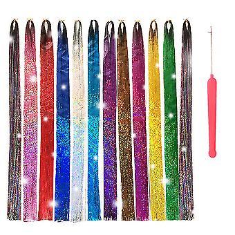 Haj Bádog szálak eszközökkel 12 színben 3000 szál Tündér haj Hőálló Csillám haj Bádog szálak Készlet Csillogó Fényes Haj kiterjesztések