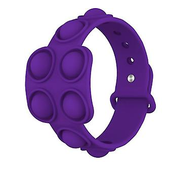 Evago 2pcs Stress Relief Wristband Push Bubble Sensory Fidget Bracelets Toy, Wearable Push Bubble Popper Fidget Hand Finger Press Silicone Bracelet To