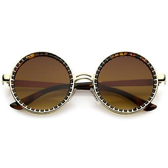 Steampunk Metal Round Sunglasses With Spike Detail And Flat Lens 50mm
