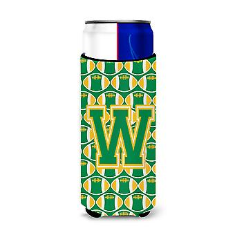 Brief W voetbal groen en goud Ultra drank isolatoren voor slanke blikjes