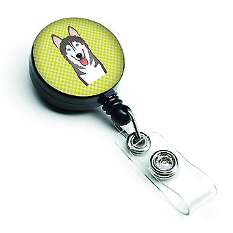 Checkerboard Lime Green Alaskan Malamute Retractable Badge Reel