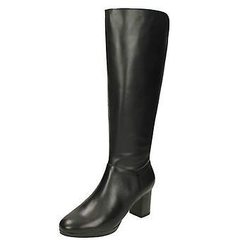 Clarks damskie obcasie kolana wysokie buty Kelda Pearl
