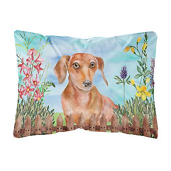 Red Dachshund Spring Canvas Fabric Decorative Pillow