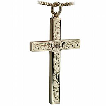 9ct Gold 40x25mm victorian hand engraved solid block Cross with a curb Chain 24 inches