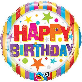 Qualatex 18 Inch ronde gelukkige verjaardag strepen & sterren folie ballon