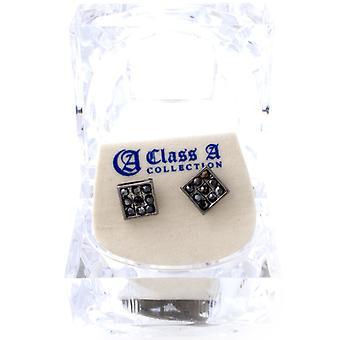 Iced out bling øreringe box - firkantet sort