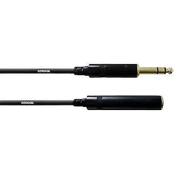 Cordial CFM 10 VK Audio/phono Cable extension [1x Jack plug 6.35 mm - 1x Jack socket 6.3 mm] 10.00 m Black