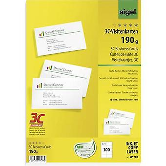 Sigel LP790 Printable business cards (smooth edge) 85 x 55 mm Bright white 100 pc(s) Paper size: A4