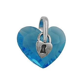 Подвесные, сердце с замком, серебро 925