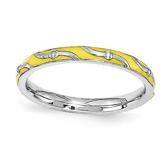 2,5 mm 925 Sterling Silber poliert gemustert Rhodium vergoldet stapelbare Ausdrücke gelb Emaille Ring Schmuck Geschenke für W